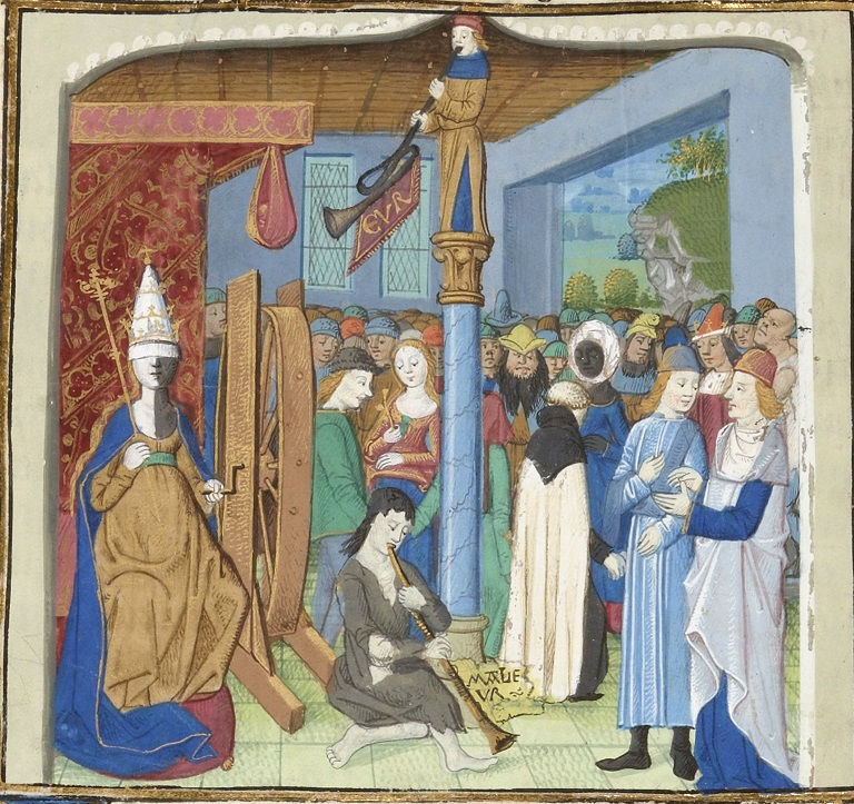 Lady Fortuna, spinning the wheel of Fortune, 1466