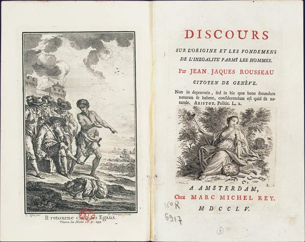 Frontispiece and title page of an edition of Rousseau's Discourse on Inequality (1754)
