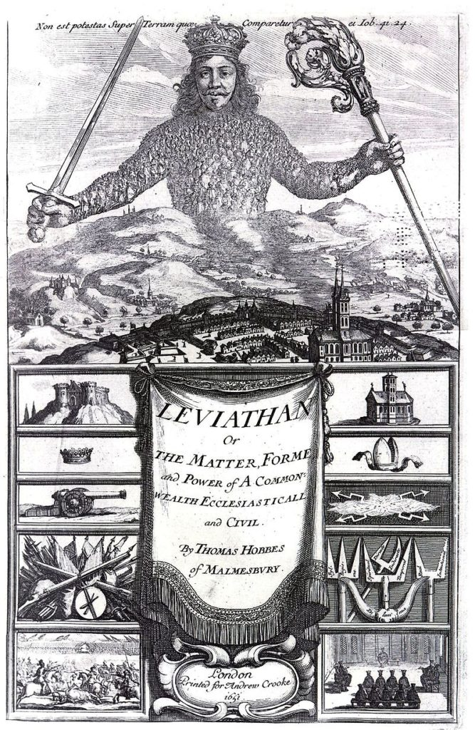 The front piece of the book Leviathan by Thomas Hobbes, 1651. Engraved by Abraham Bosse