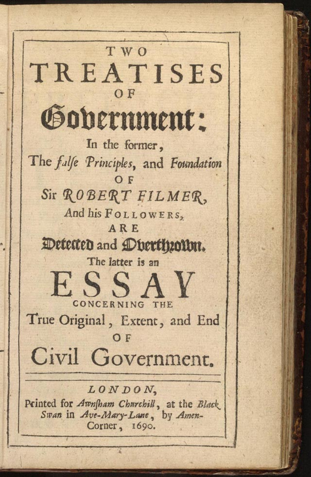 Title page from the first edition of John Locke, Two Treatises of Government, 1690