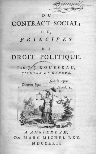 itle page of Jean-Jacques Rousseau, On the Social Contract; or, Principles of Political Rights, 1762