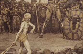 "Osmar Schindler, 1888, ""David und Goliath"". Colour lithograph"