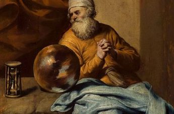 Gonzales Coques, ,17th century, Old man with an hourglass.