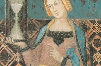 Temperance bearing an hourglass; detail Lorenzetti's Allegory of Good Government, 1338