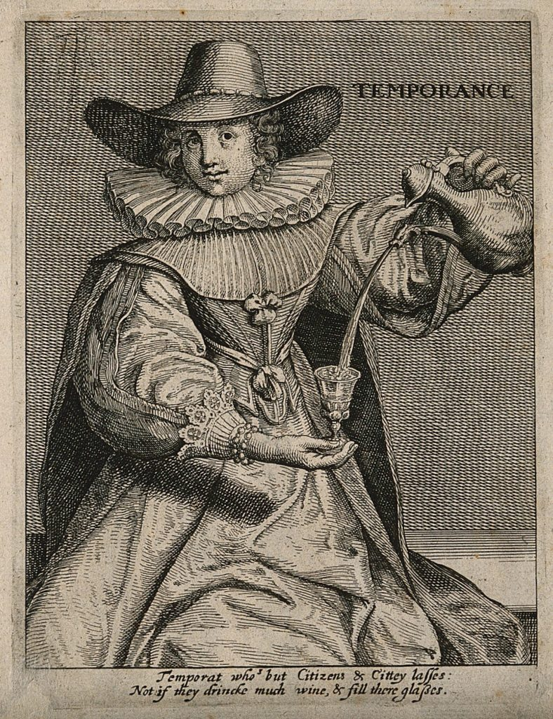 Thomas Jenner, 1650 'A man drinking; representing the virtue of temperance. Etching, c. 1650.' . Credit: Wellcome Collection. CC BY