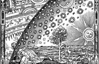 The Flammarion engraving, Artist Unknown, found in Camille Flammarion's L'atmosphère: météorologie populaire (1888) The caption that accompanies the engraving in Flammarion's book reads: 'A missionary of the Middle Ages tells that he had found the point where the sky and the Earth touch...'