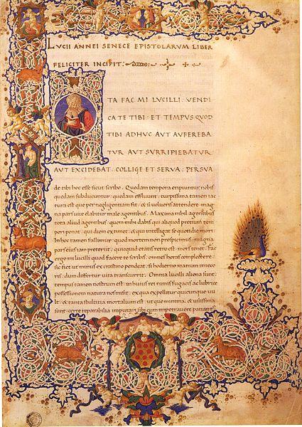 """Illuminated manuscript, 1458, Epistulae Morales ad Lucilium (Latin for """"Moral Letters to Lucilius)"""