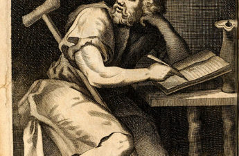 "Imaginary portrait of Epictetus. Engraved frontispiece of Edward Ivie's Latin translation (or versification) of Epictetus' Enchiridon, printed in Oxford in 1715. Frontispiece drawn by ""Sonnem."" or ""Sonnern."" and engraved by Michael Burghers."
