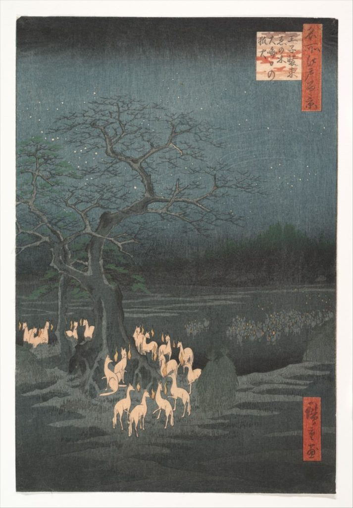 Utagawa Hiroshige, 1857, New Year's Eve Foxfires at the Changing Tree, Ōji