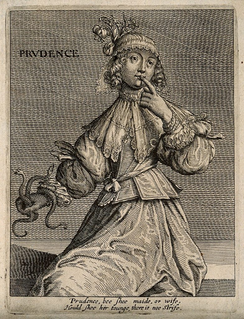 Thomas Jenner, 17th Century, Prudence. 'A woman with two serpents holding her finger to her lips; representing prudence. Etching, 16--. Credit: Wellcome Collection. CC BY'