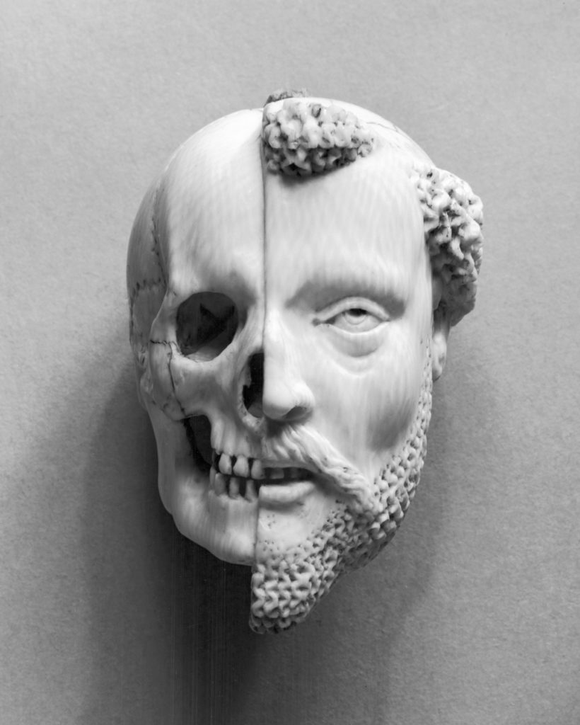 French 16th/17th-century ivory pendant, Monk and Death, recalling mortality and the certainty of death (Walters Art Museum)