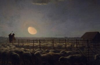 Jean Francois Millet, The Sheepfold, Moonlight, 1856-1860